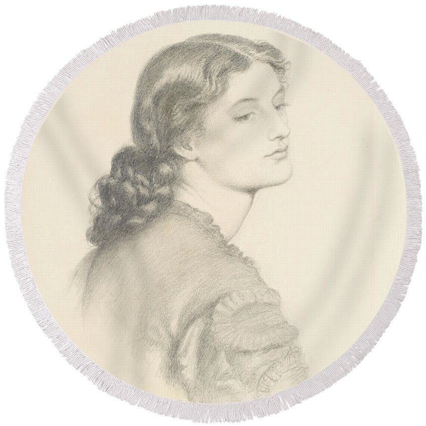 Dante Gabriel Rossetti Round Beach Towel featuring the drawing Portrait Of Ada Vernon by Dante Gabriel Rossetti