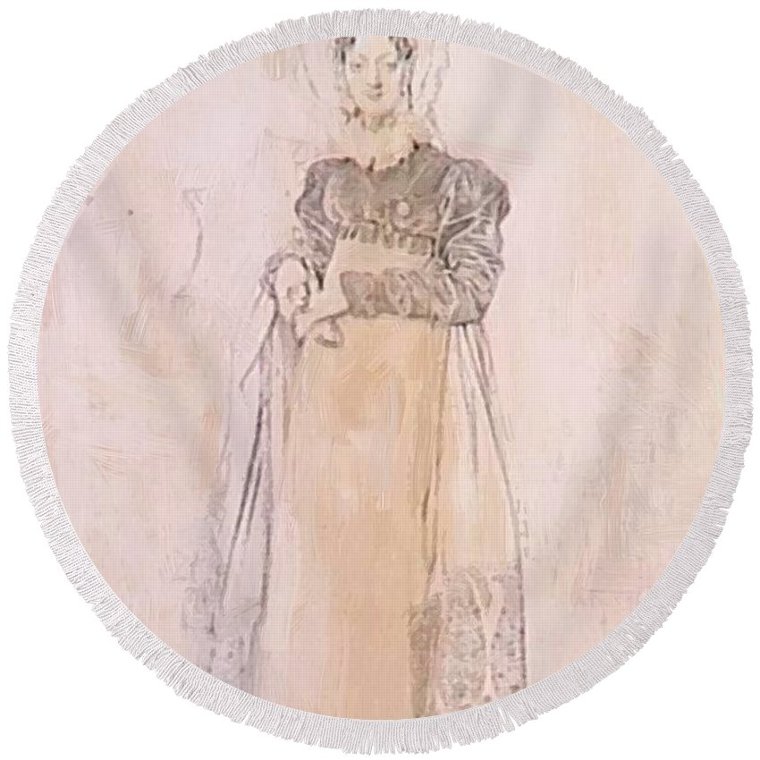 Portrait Round Beach Towel featuring the painting Portrait Of Baroness Papenheim by Ingres Jean Auguste Dominique