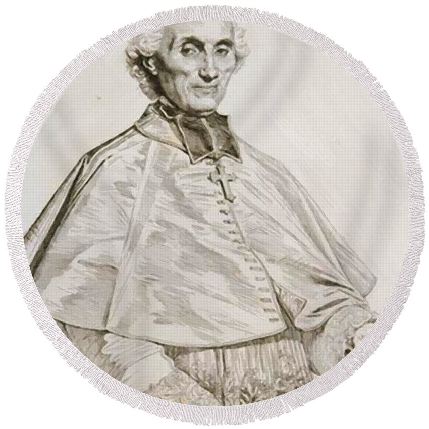 Portrait Round Beach Towel featuring the painting Portrait Of Bishop Persigny by Ingres Jean Auguste Dominique