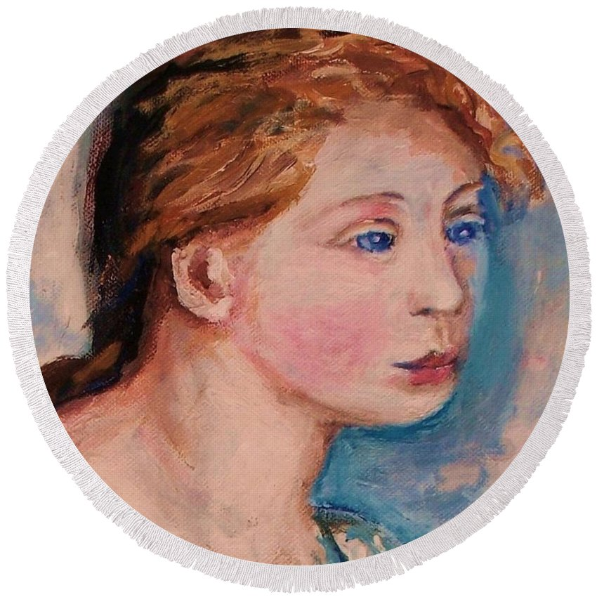 Portraits Round Beach Towel featuring the painting Portrait Of Country Girl by Eric Schiabor