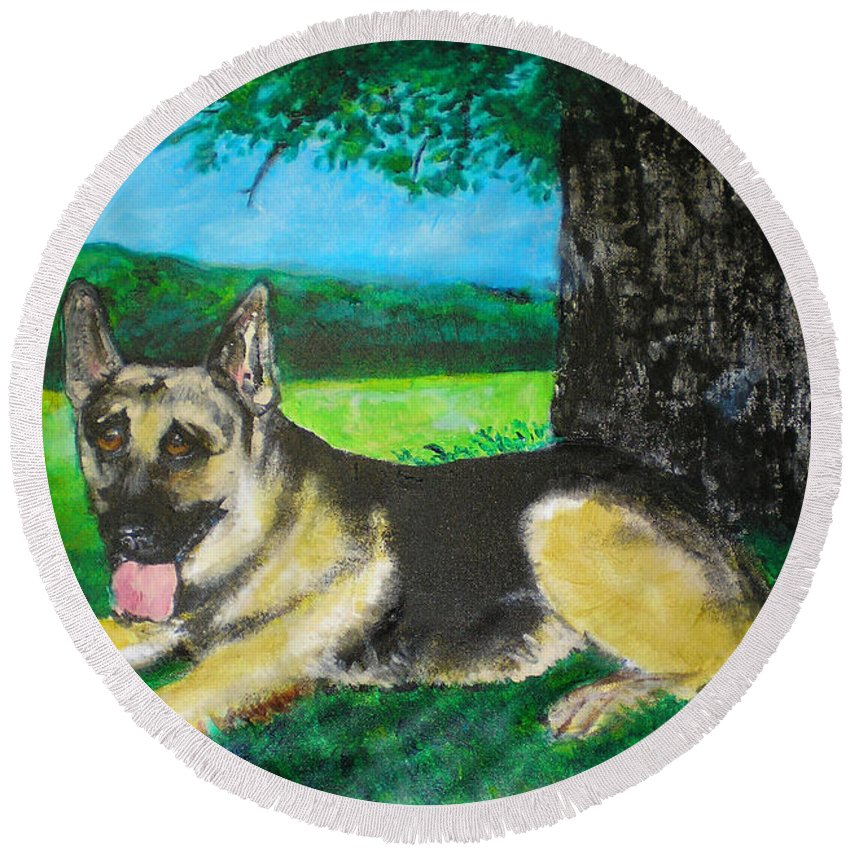 Portrait Of Edy Round Beach Towel featuring the painting Portrait of Edy by Seth Weaver