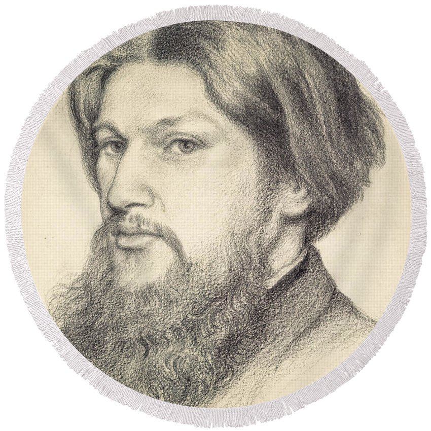 Dante Gabriel Rossetti Round Beach Towel featuring the drawing Portrait Of Ford Madox Brown by Dante Gabriel Rossetti