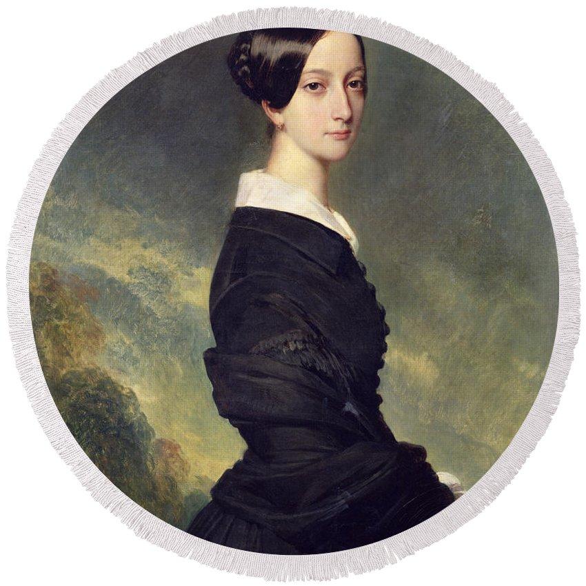 Portrait Round Beach Towel featuring the painting Portrait Of Francisca Caroline De Braganca by Franz Xaver Winterhalter