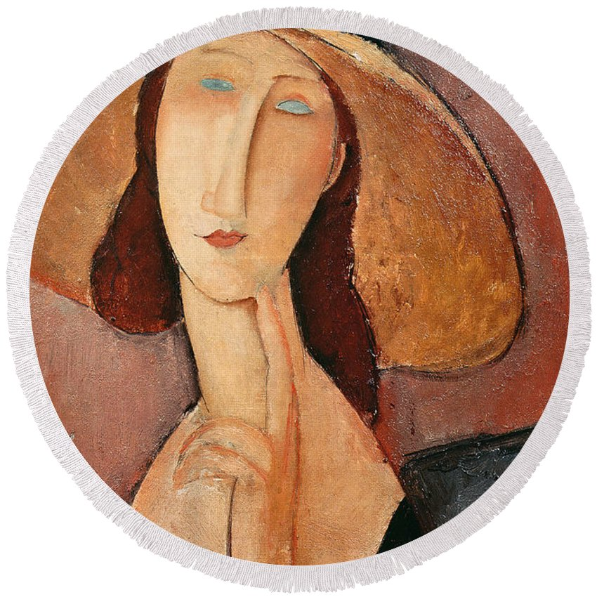 Portrait Round Beach Towel featuring the painting Portrait Of Jeanne Hebuterne In A Large Hat by Amedeo Modigliani