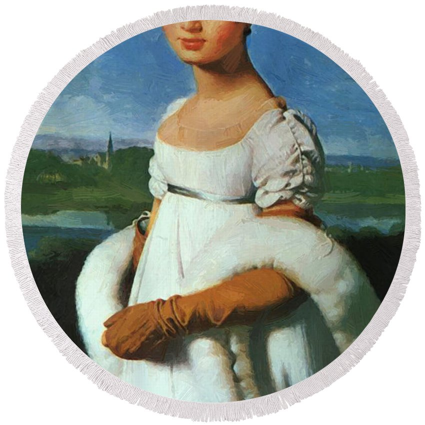 Portrait Round Beach Towel featuring the painting Portrait Of Mademoiselle Riviae 1805 by Ingres Jean Auguste Dominique