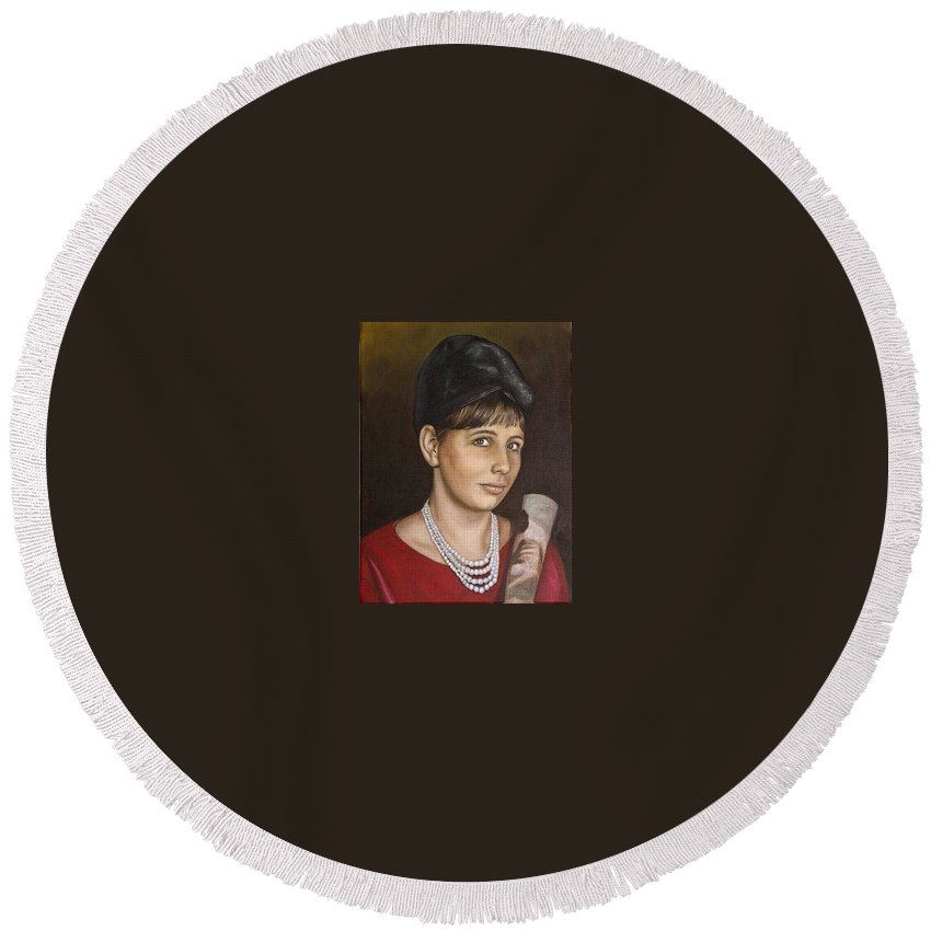 Portrait Round Beach Towel featuring the painting Portrait Of My Mother Early Sixties by Rob De Vries