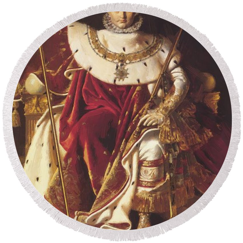 Portrait Round Beach Towel featuring the painting Portrait Of Napolan On The Imperial Throne 1806 by Ingres Jean Auguste Dominique