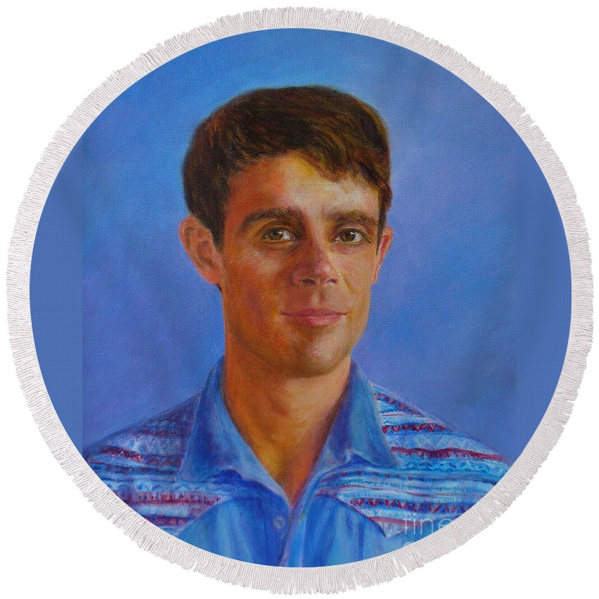Portraits Round Beach Towel featuring the painting Portrait Of Canadian Operatic Tenor Paul Ouellette by Anees Peterman