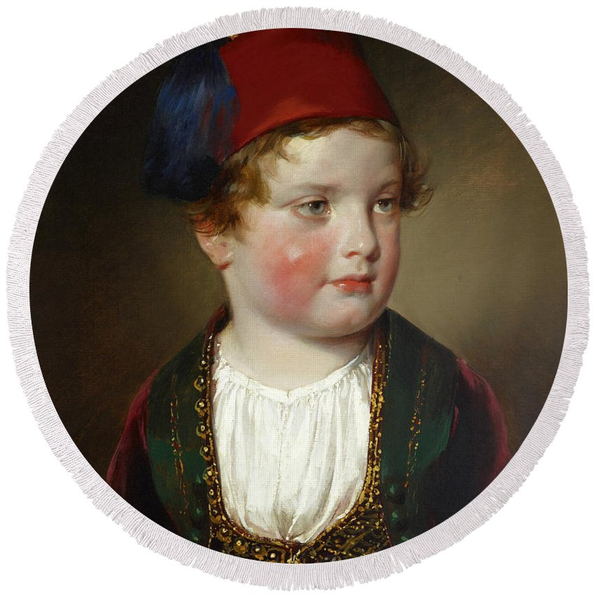 Friedrich Von Amerling Round Beach Towel featuring the painting Portrait Of Prince Victor Odescalchi In Greek Costume At The Age Of Five by Friedrich von Amerling