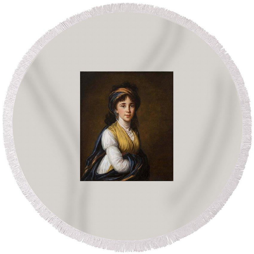 Portrait Round Beach Towel featuring the digital art Portrait Of Princess Belozersky Lisabeth Louise Vige Le Brun by Eloisa Mannion