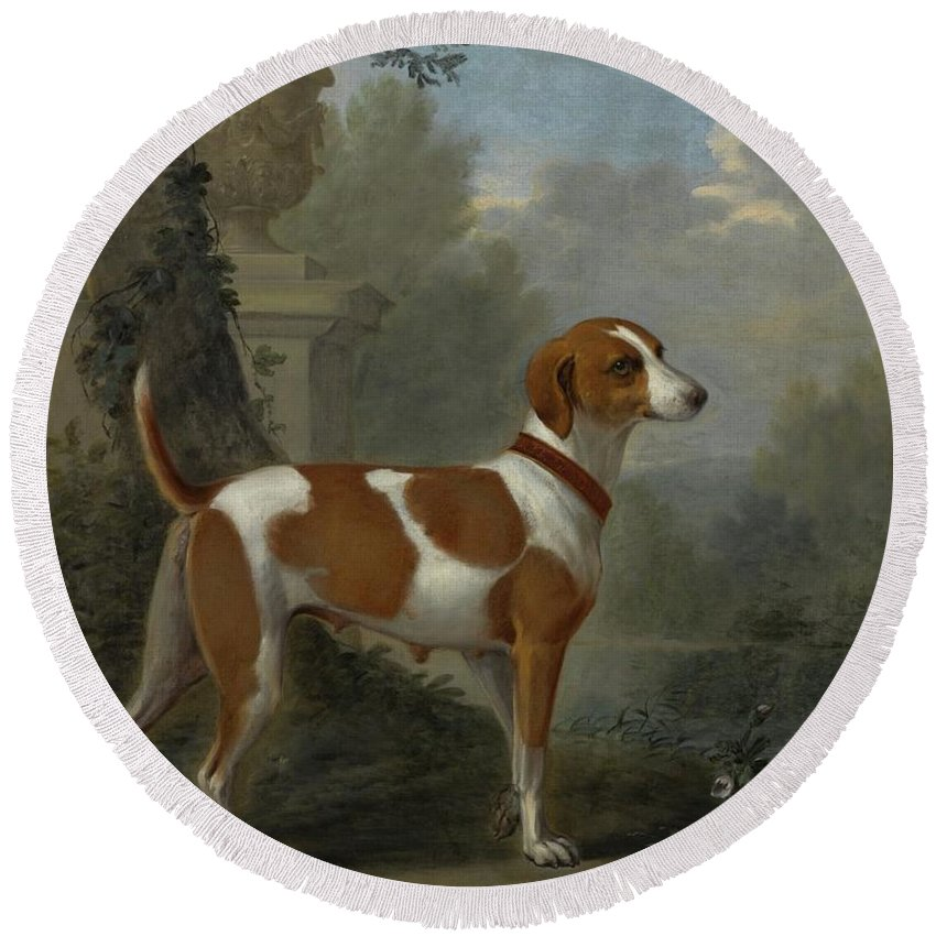 John Wootton Portrait Of The Duke Of Hamilton's Hound Round Beach Towel featuring the painting Portrait Of The Duke Of Hamilton Hound by John Wootton