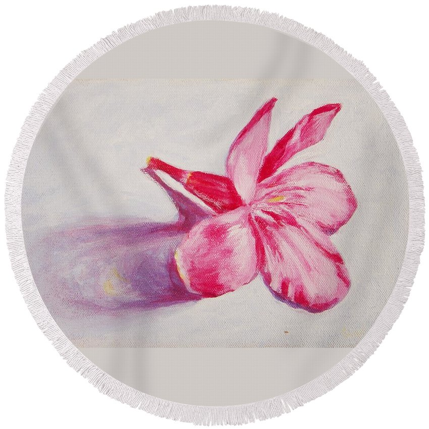 Genneri Round Beach Towel featuring the painting Portrait Of The Kaneri Flower. Oleander by Usha Shantharam