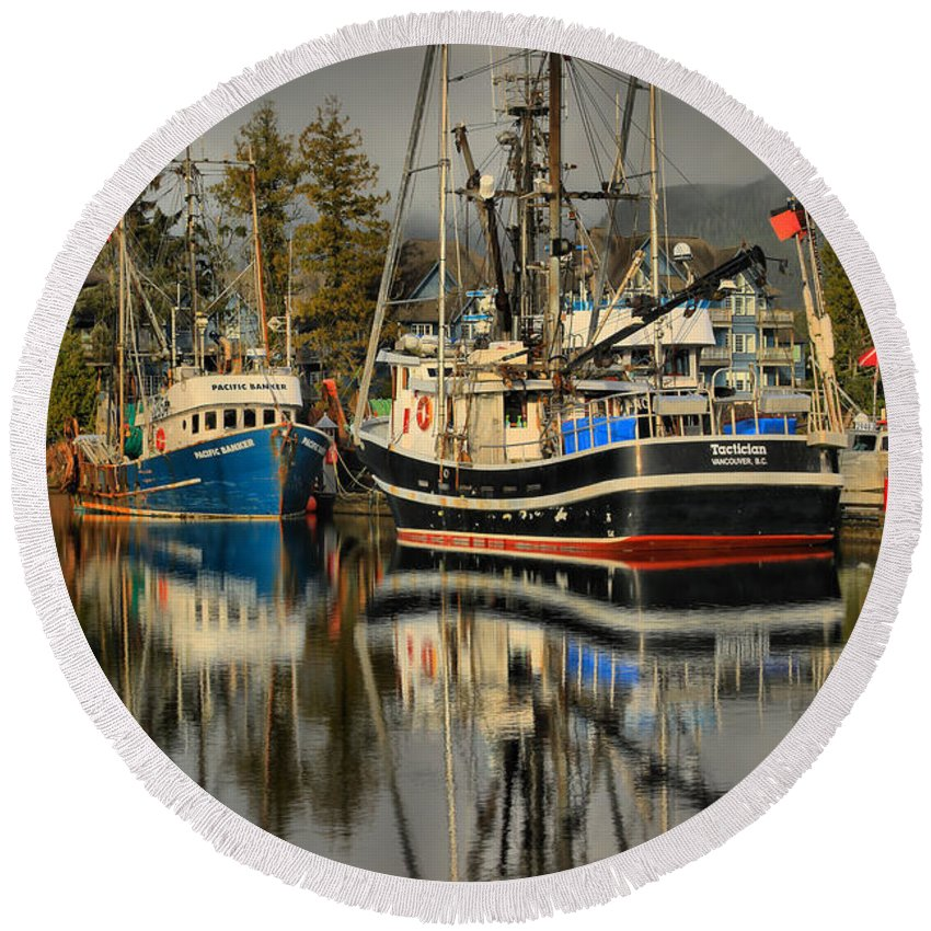 Tactician Round Beach Towel featuring the photograph Portrait Of The Ucluelet Trawlers by Adam Jewell