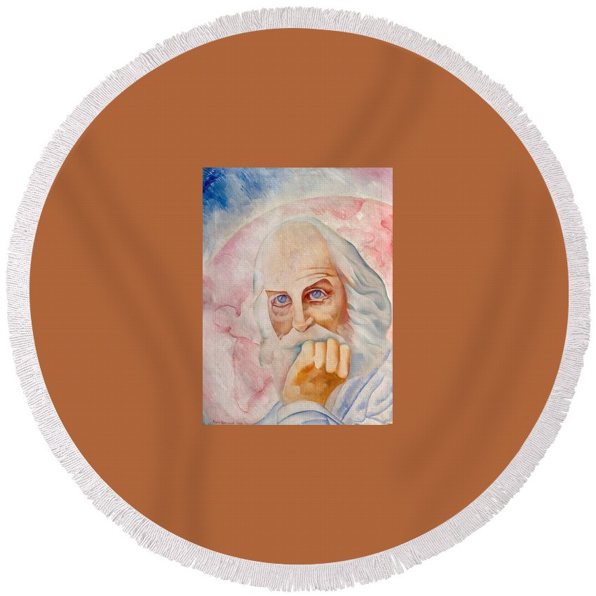 Face Round Beach Towel featuring the digital art Portrait Of The Us-american Poet Walt Whitman Boris Grigoriev by Eloisa Mannion