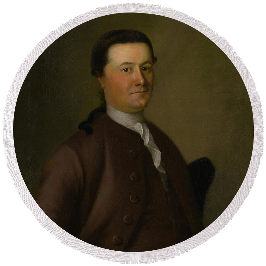 Joseph Blackburn (c. ) Portrait Of Thomas Amory Round Beach Towel featuring the painting Portrait Of Thomas Amory by MotionAge Designs