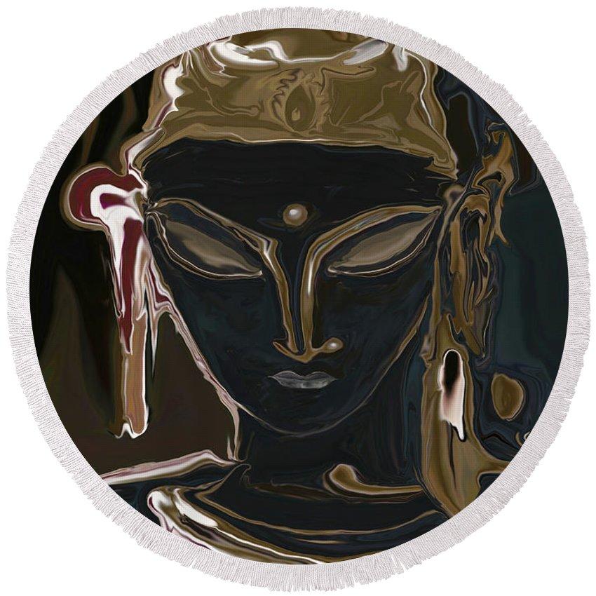 Art Round Beach Towel featuring the digital art Portrait Of Vajrasattva by Rabi Khan