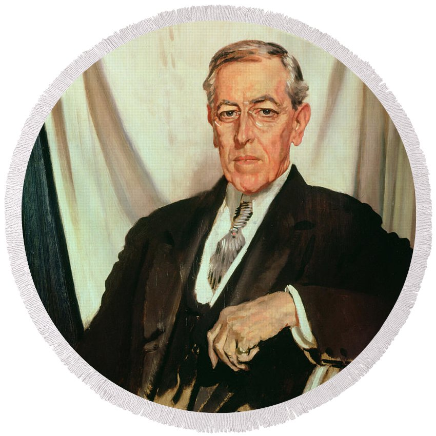 Portrait Of Woodrow Wilson (1856-1924) C.1919 (oil On Canvas) By Sir William Orpen (1878-1931) Round Beach Towel featuring the painting Portrait Of Woodrow Wilson by Sir William Orpen