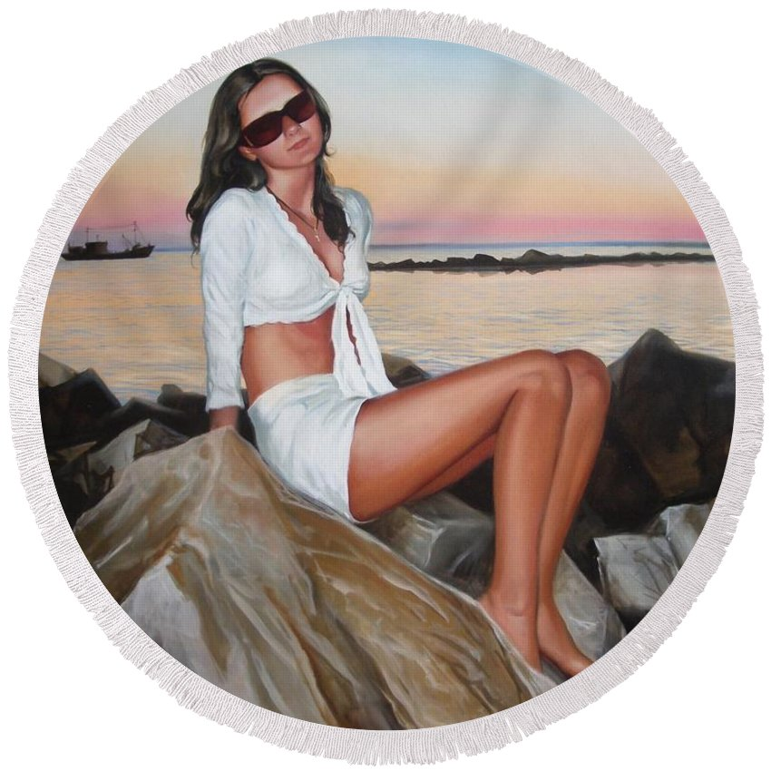 Art Round Beach Towel featuring the painting Portrait by Sergey Ignatenko