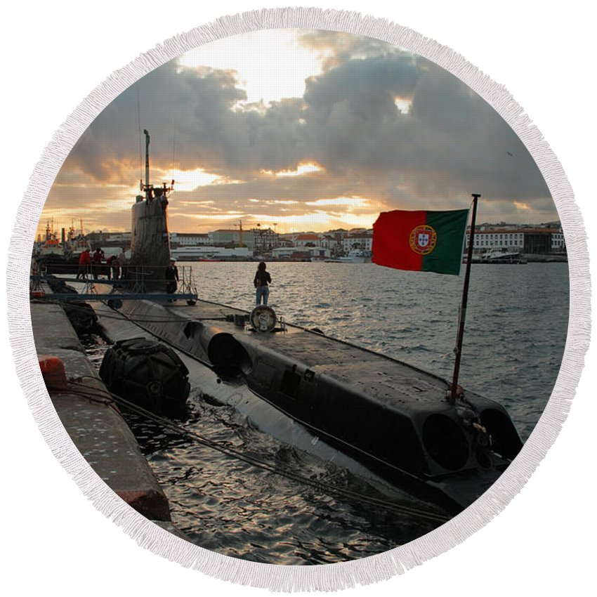 Harbor Round Beach Towel featuring the photograph Portuguese Navy Submarine by Gaspar Avila