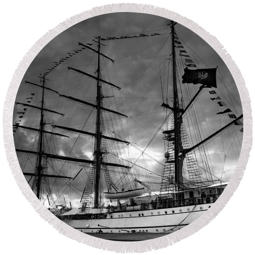 Brig Round Beach Towel featuring the photograph Portuguese Tall Ship by Gaspar Avila
