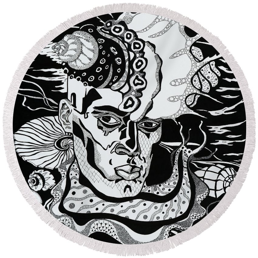 Surreal Round Beach Towel featuring the drawing Poseidon by Yelena Tylkina