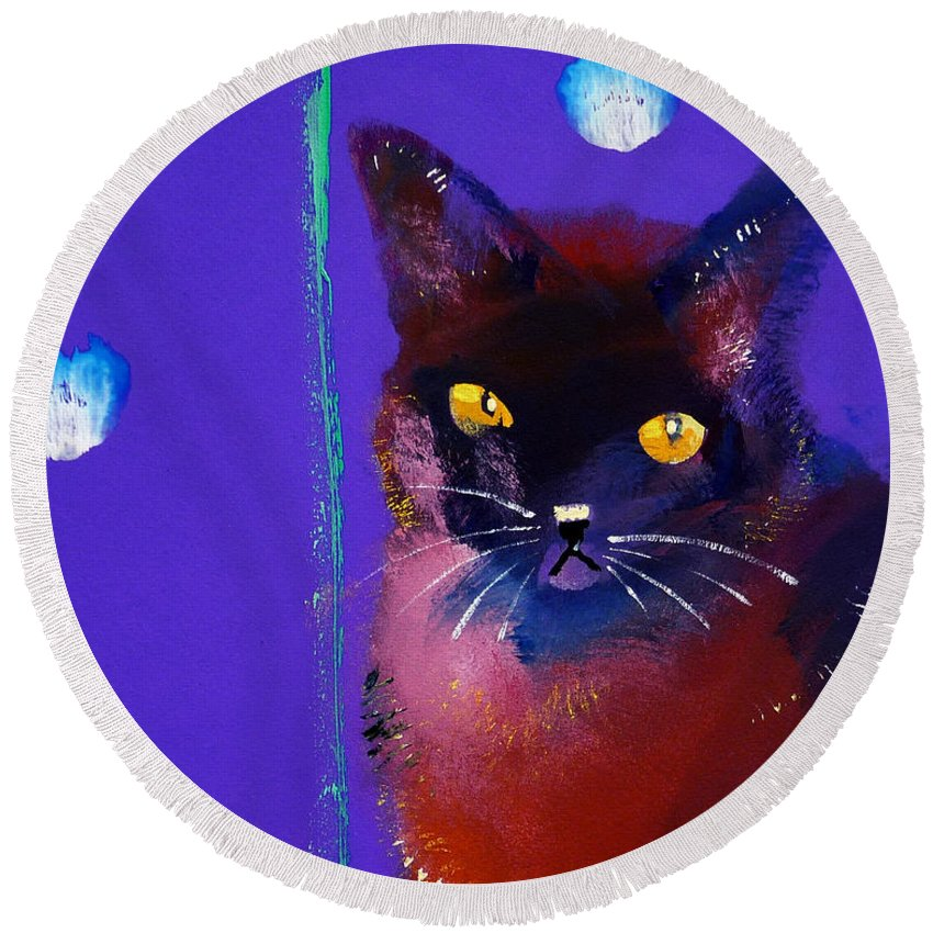 Cat Round Beach Towel featuring the painting Posh Tom Cat by Charles Stuart