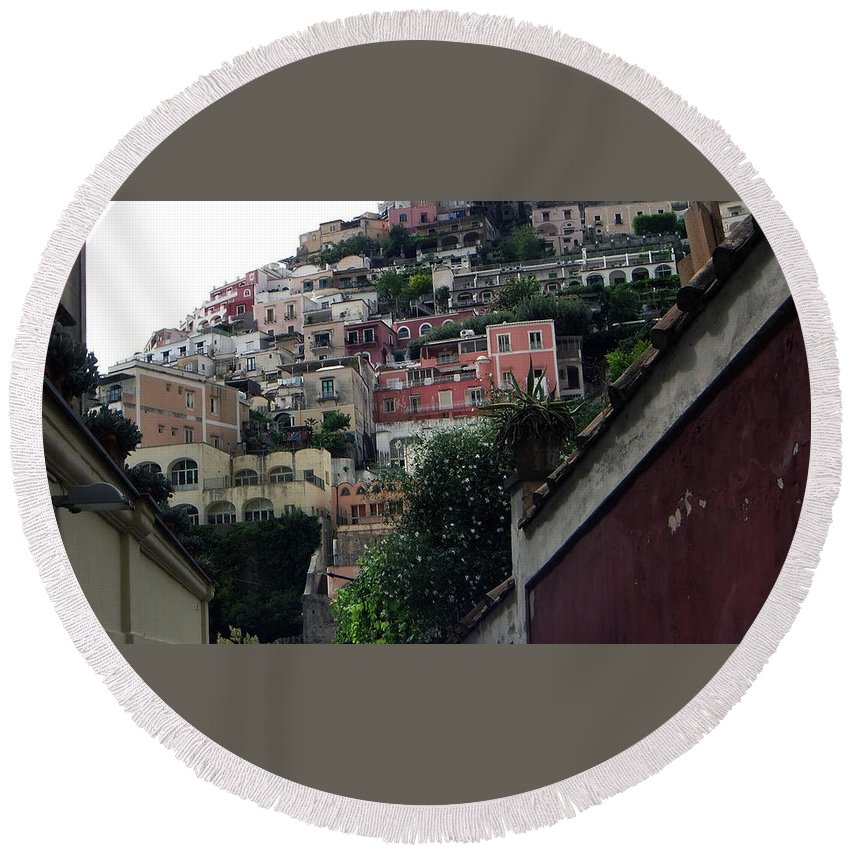 Positano Round Beach Towel featuring the photograph Positano, Amalfi,, Italy by Dave Philp