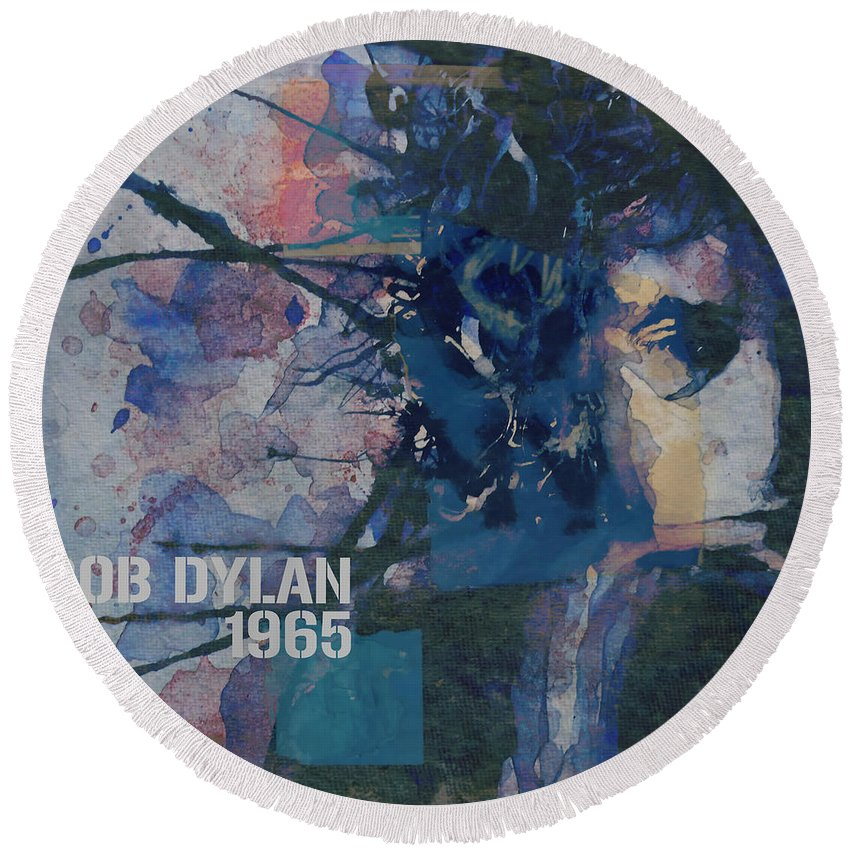 Bob Dylan Round Beach Towel featuring the painting Positively 4th Street by Paul Lovering