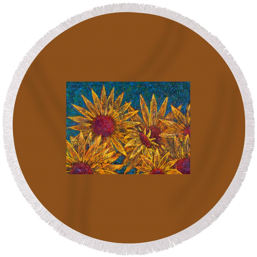 Flowers Round Beach Towel featuring the painting Positivity by Oscar Ortiz