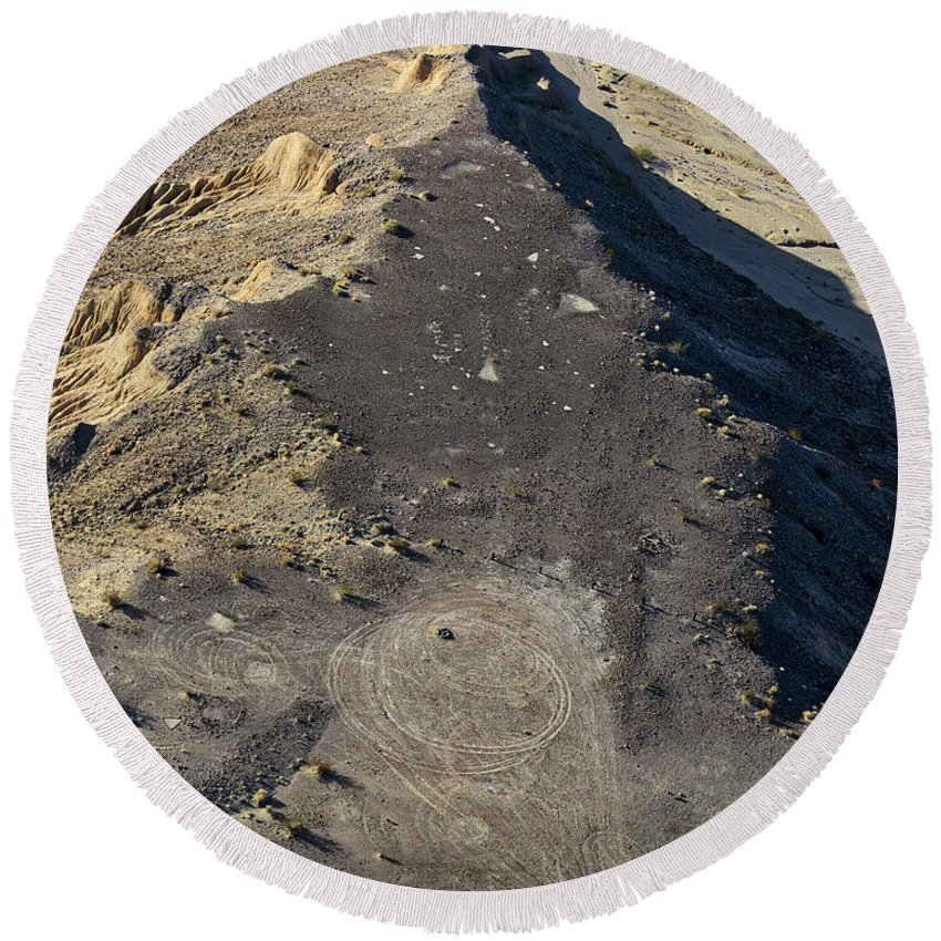 Aerial Shots Round Beach Towel featuring the photograph Possible Archeological Site by Jim Thompson