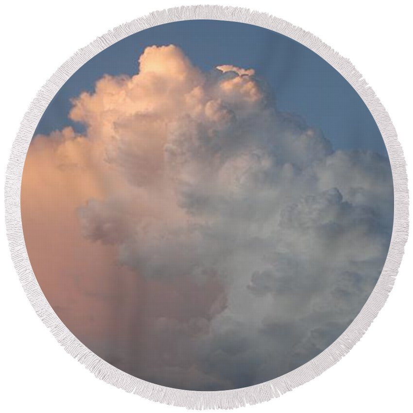 Clouds Round Beach Towel featuring the photograph Post Card Clouds by Rob Hans