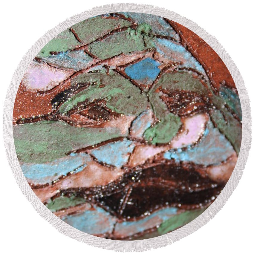Gloria Ssali Round Beach Towel featuring the painting Post Carnival Blues Tile by Gloria Ssali