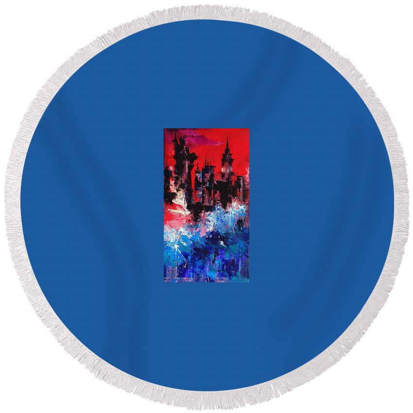 New York Round Beach Towel featuring the painting Postapocalyptic New York by Katya Malina