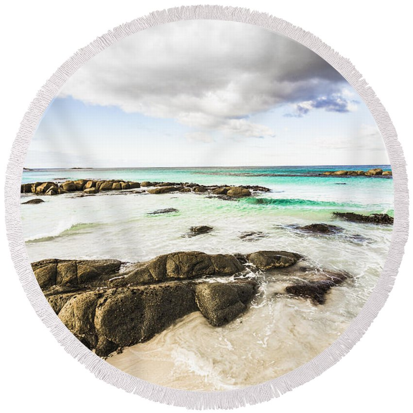 Background Round Beach Towel featuring the photograph Postcard Perfect Ocean Background by Jorgo Photography - Wall Art Gallery