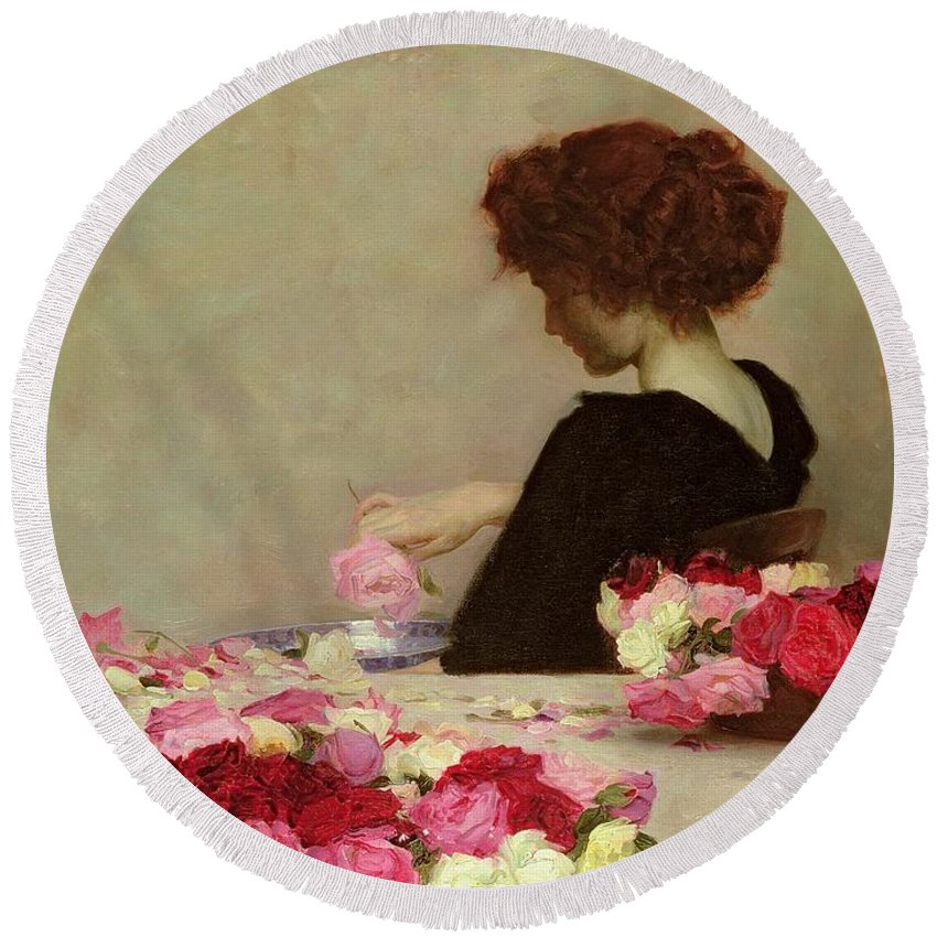 Female Round Beach Towel featuring the painting Pot Pourri by Herbert James Draper