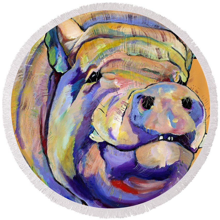 Pig Prints Round Beach Towel featuring the painting Potbelly by Pat Saunders-White