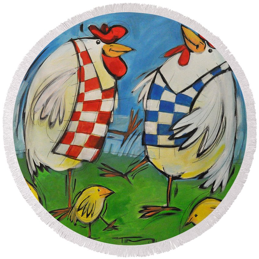 Hens Round Beach Towel featuring the painting Poultry In Motion by Tim Nyberg