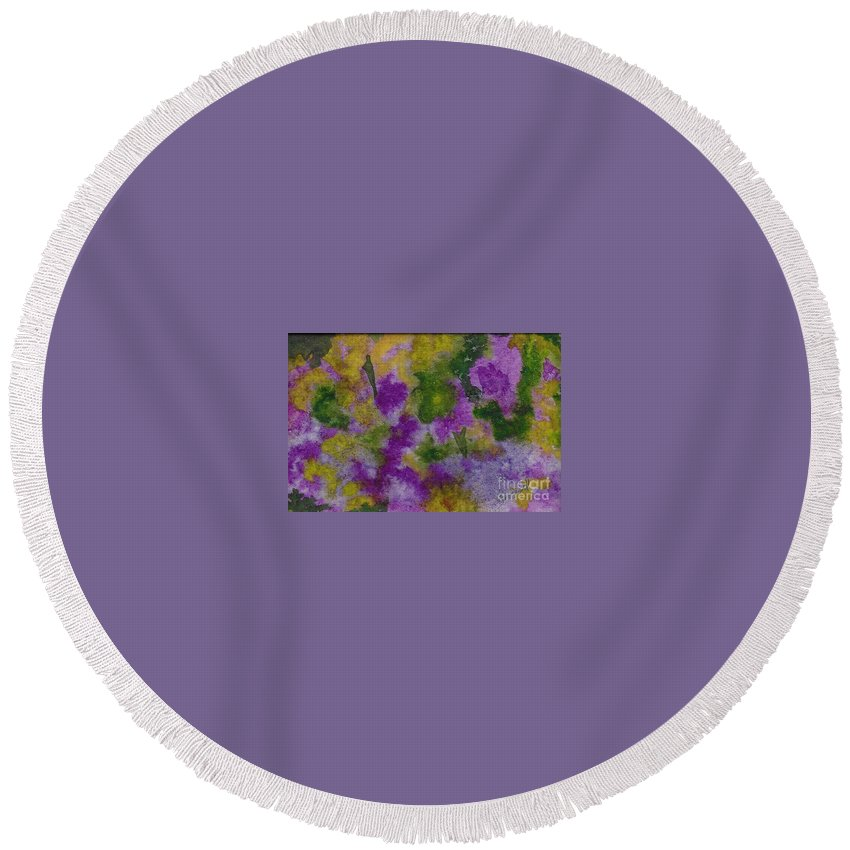 Flowers Round Beach Towel featuring the painting Pouring Flowers by Vicki Housel