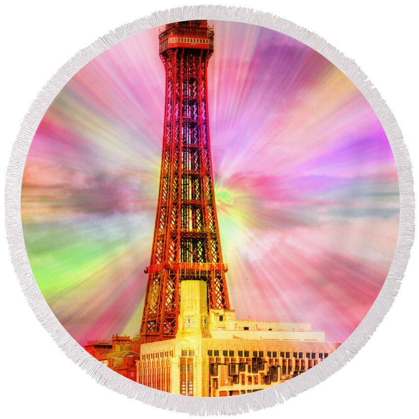 Blackpool Round Beach Towel featuring the photograph Pow by Kevin Williams