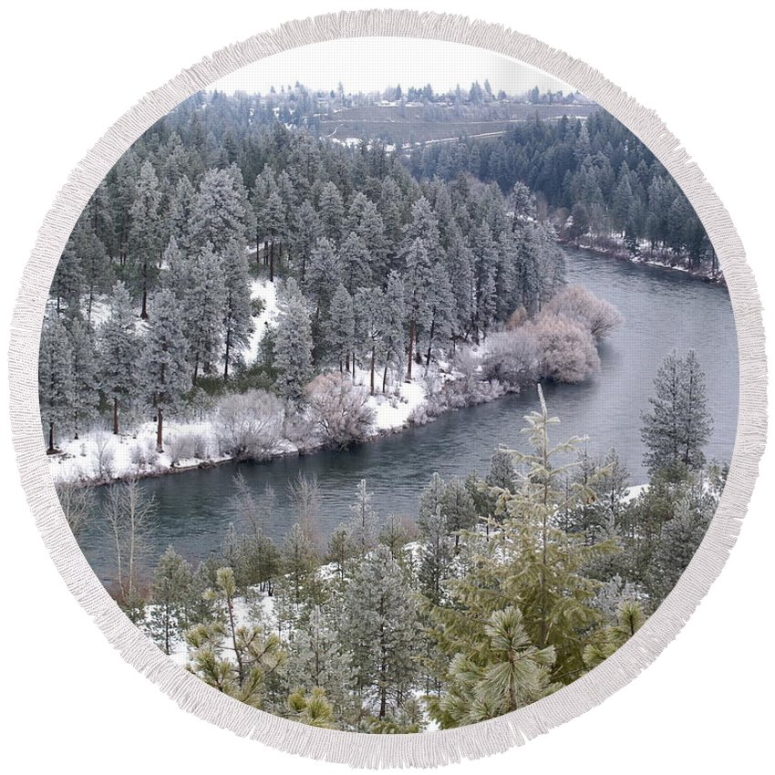 Nature Round Beach Towel featuring the photograph Powdered Spokane River by Ben Upham III