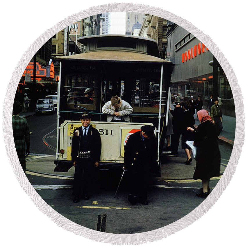511 Round Beach Towel featuring the photograph Powell And Mason Street Turnaround, April 6 1961 by Wernher Krutein