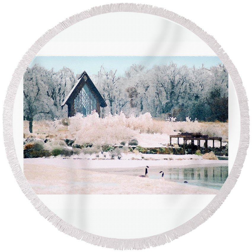 Landscape Round Beach Towel featuring the photograph Powell Gardens Chapel by Steve Karol