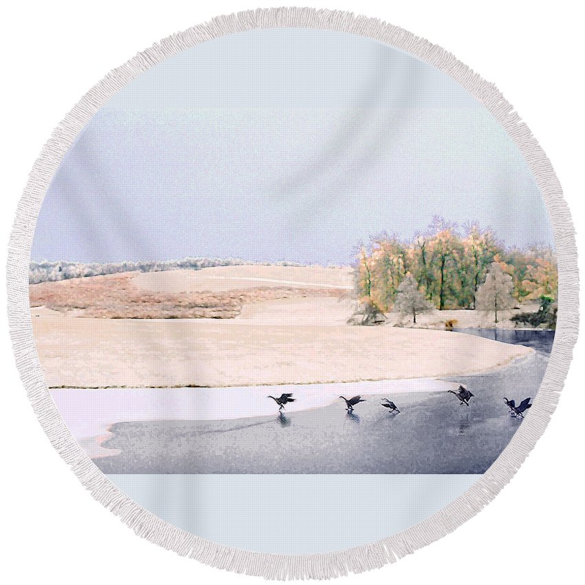 Landscape Round Beach Towel featuring the photograph Powell Gardens In Winter by Steve Karol