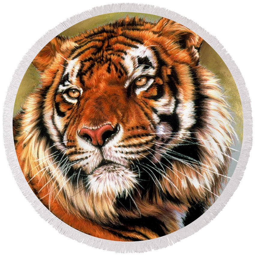 Tiger Round Beach Towel featuring the pastel Power And Grace by Barbara Keith