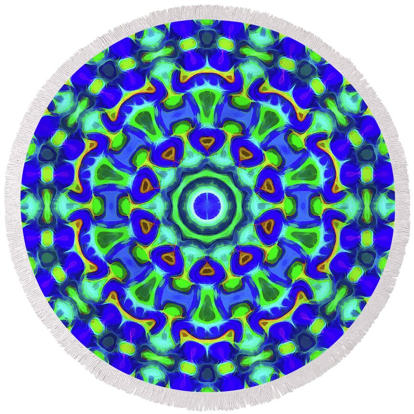 Mandala Art Round Beach Towel featuring the painting Power by Jeelan Clark
