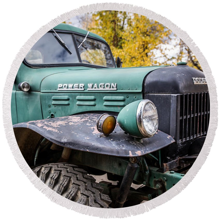 Power Wagon Round Beach Towel featuring the photograph Power Wagon by Lynn Sprowl