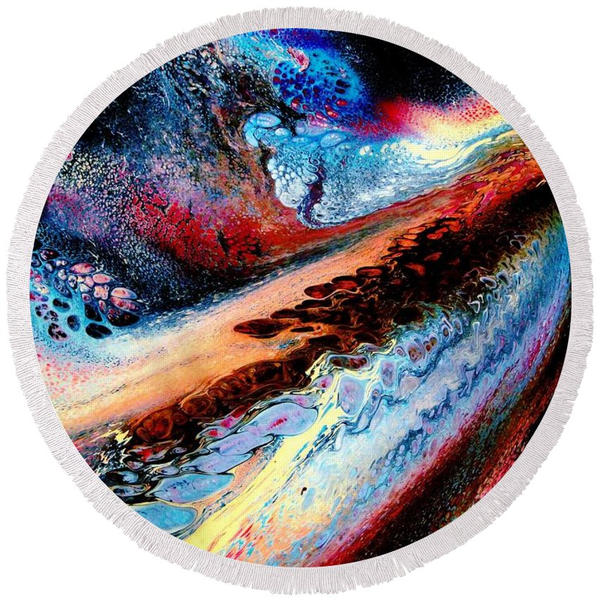 Energy Round Beach Towel featuring the painting Powerful Force by Natalie Holland