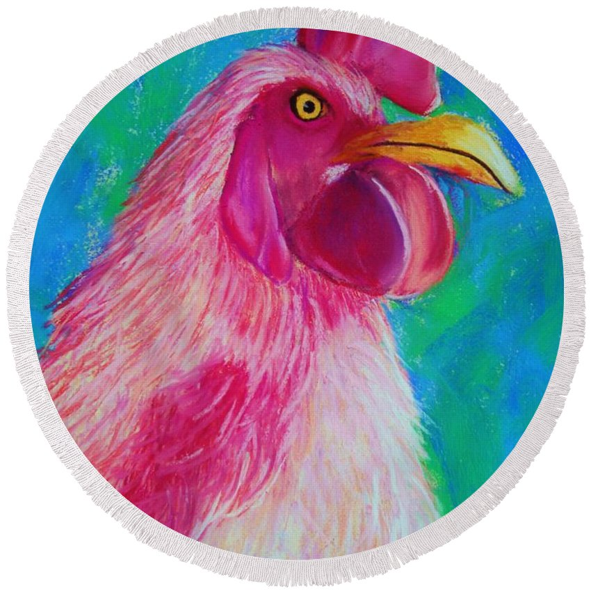 Rooster Round Beach Towel featuring the painting Powerful In Pink by Melinda Etzold