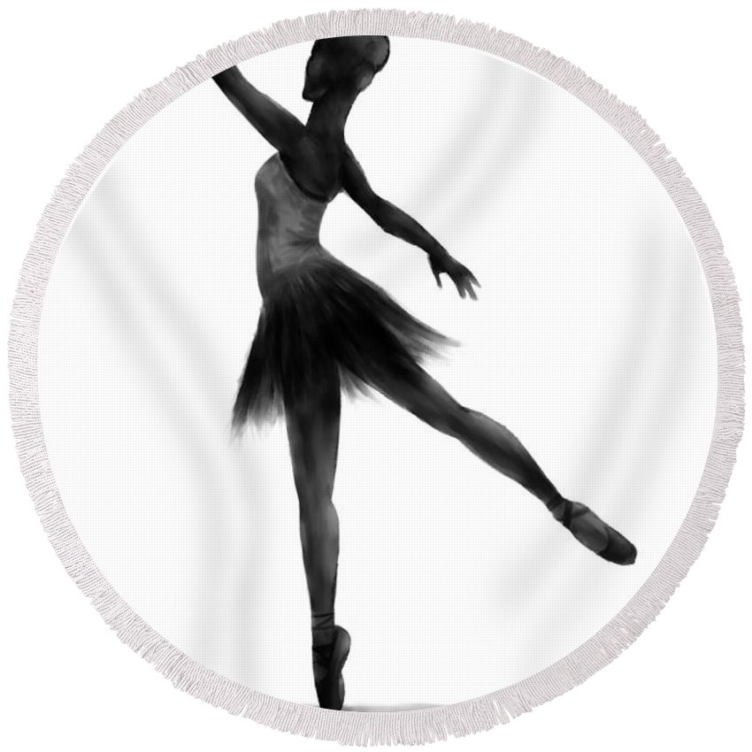 Ballet Round Beach Towel featuring the digital art Practice Makes Perfect by Alina Davis