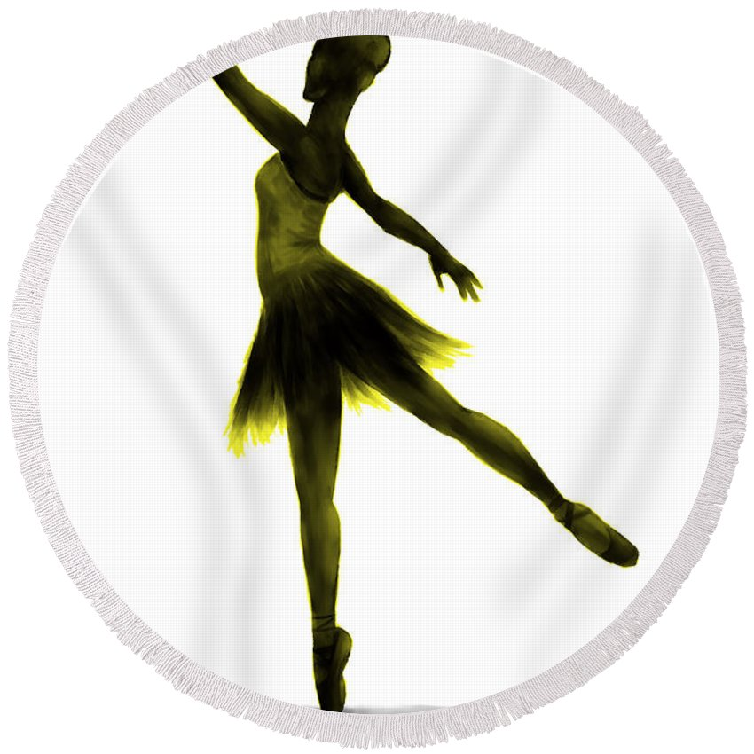 Ballet Round Beach Towel featuring the digital art Practice Makes Perfect - Yellow by Alina Davis